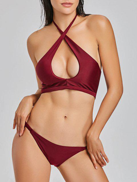 Halterneck Keyhole Bikini Set - WINE RED XL
