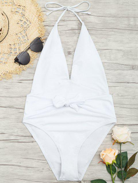 Plunge Front Backless Tied Swimsuit - WHITE 2XL