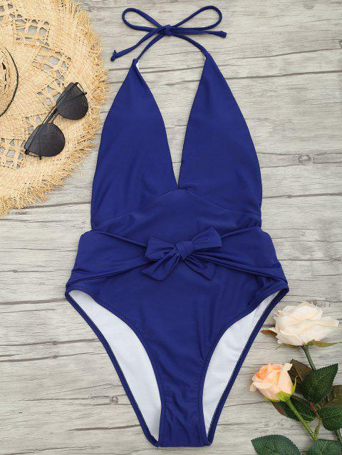 Plunge Front Backless Tied Swimsuit - DEEP BLUE S