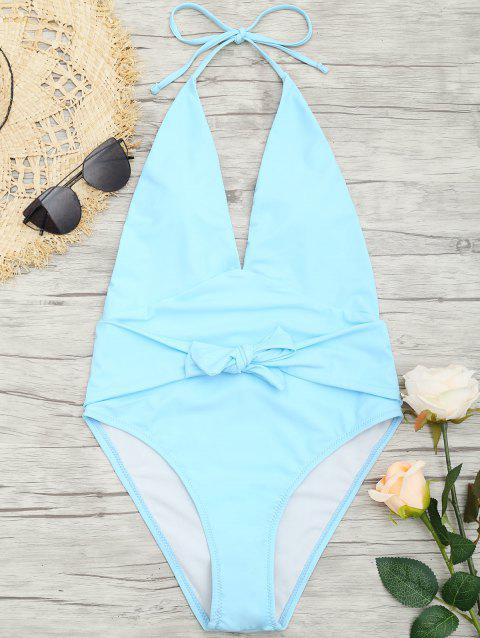 Plunge Front Backless Tied Swimsuit - CLOUDY M