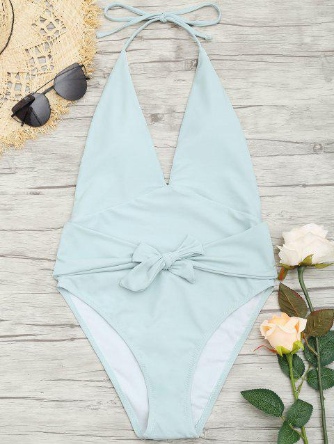 Plunge Front Backless Tied Swimsuit - MINT 2XL