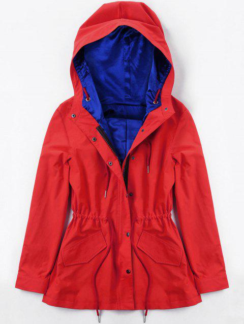 Hooded Drawstring Heated Jacket - RED 2XL