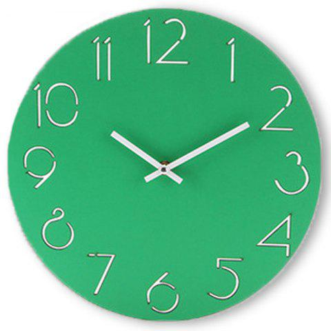 Wooden Round Analog Number Wall Clock - GREEN 30*30CM