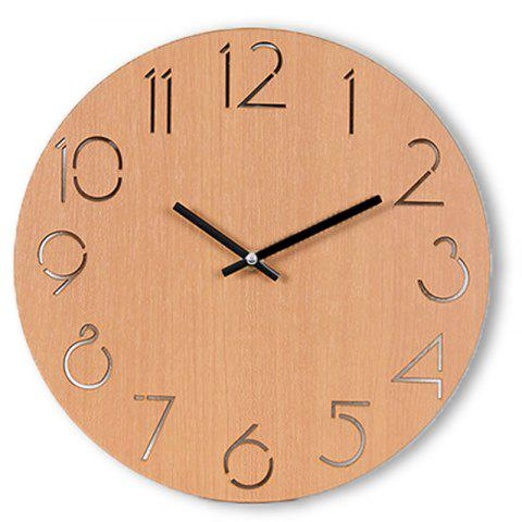 Wooden Round Analog Number Wall Clock - LIGHT BROWN 30*30CM