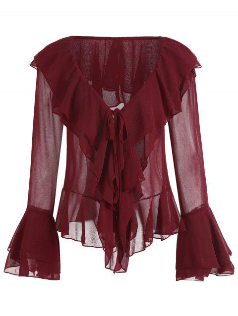 Layered Flare Sleeve Ruffles Plunge Blouse - WINE RED S