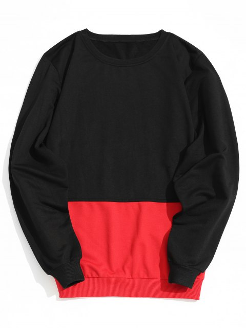 Crew Neck Two Tone Sweatshirt - RED/BLACK 2XL