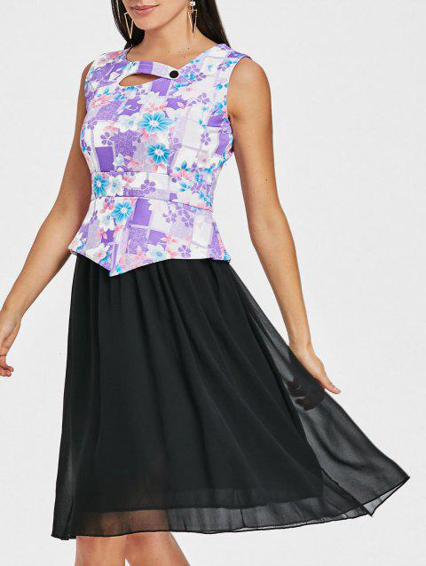 Peplum Sleeveless Floral Print Dress - PURPLE L