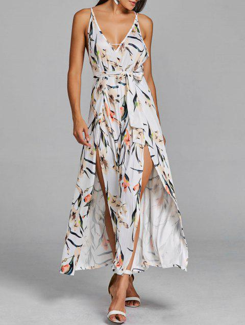 High Slit Floral Sleeveless Palazzo Jumpsuit - WHITE XL