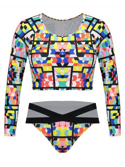 Printed Long Sleeves Plus Size Swimsuit - COLORMIX 3XL