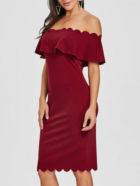 Off The Shoulder Scalloped Bodycon Dress - BURGUNDY M
