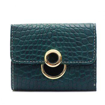 PU Leather Embossing Tri Fold Wallet - GREEN GREEN