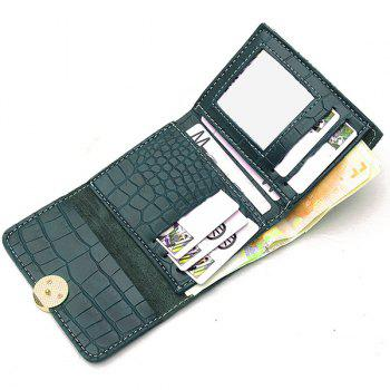 PU Leather Embossing Tri Fold Wallet - GREEN