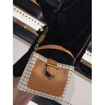 Studs Plaid Color Block Sac à main - RAL Beige
