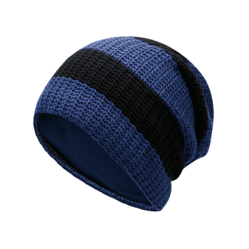 Striped Pattern Decorated Crochet Knitting Slouchy Beanie - CERULEAN