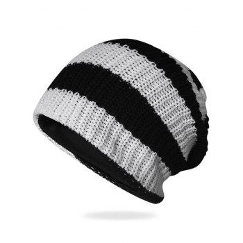 Striped Pattern Decorated Crochet Knitting Slouchy Beanie - BLACK BLACK