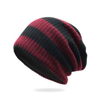 Striped Pattern Decorated Crochet Knitting Slouchy Beanie - WINE RED WINE RED