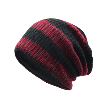 Striped Pattern Decorated Crochet Knitting Slouchy Beanie -  WINE RED
