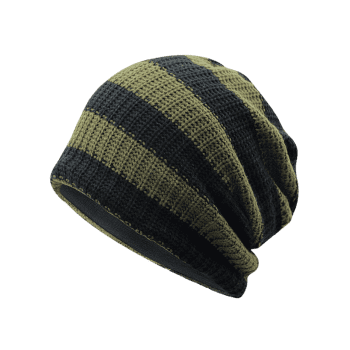Striped Pattern Decorated Crochet Knitting Slouchy Beanie - ARMY GREEN
