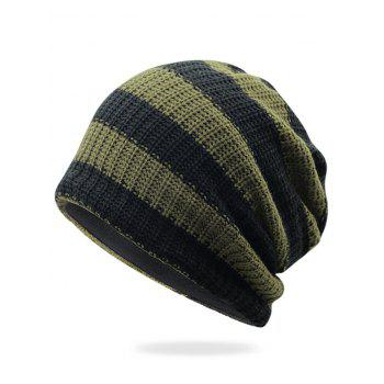 Striped Pattern Decorated Crochet Knitting Slouchy Beanie - ARMY GREEN ARMY GREEN