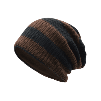Striped Pattern Decorated Crochet Knitting Slouchy Beanie - COFFEE