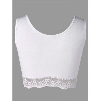 Plus Size Lace Trim U Neck Bra - WHITE WHITE