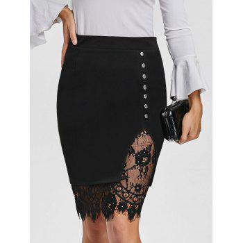 Slit Eyelash Lace Trimmed Bodycon Skirt - BLACK BLACK