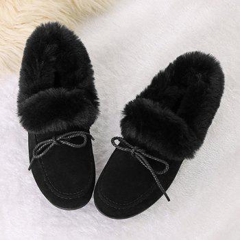 Faux Fur Trim Bowknot Front Flat Shoes - BLACK BLACK