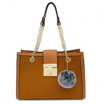 Faux Leather Chain Shoulder Bag With Pompom - DEEP BROWN DEEP BROWN