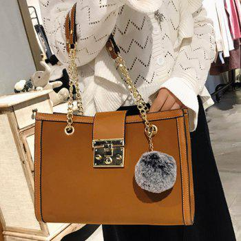 Faux Leather Chain Shoulder Bag With Pompom -  DEEP BROWN
