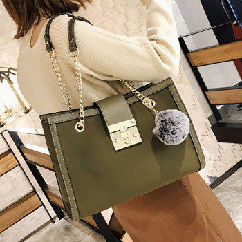 Faux Leather Chain Shoulder Bag With Pompom - GREEN