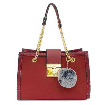 Faux Leather Chain Shoulder Bag With Pompom - RED RED