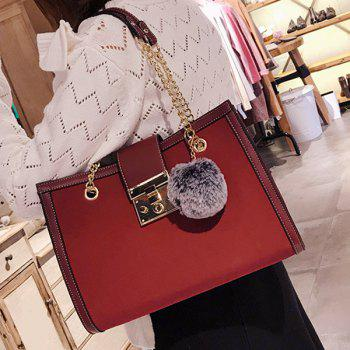 Faux Leather Chain Shoulder Bag With Pompom - RED