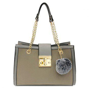 Faux Leather Chain Shoulder Bag With Pompom - GRAY GRAY