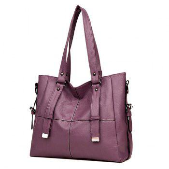 Faux Leather Back Zip Pocket Shoulder Bag -  PURPLE