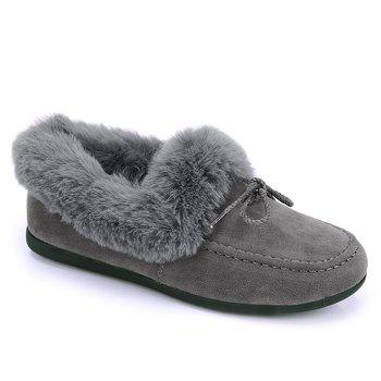 Faux Fur Trim Bowknot Front Flat Shoes - GRAY GRAY