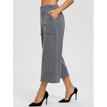 Capri High Waisted Palazzo Pants - GRAY GRAY
