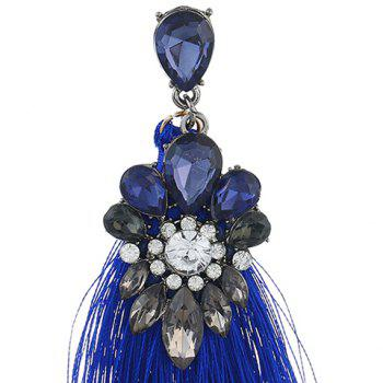 Rhinestone Inlay Tassel Ethnic Drop Earrings - BLUE
