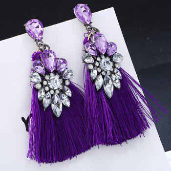 Rhinestone Inlay Tassel Ethnic Drop Earrings - PURPLE