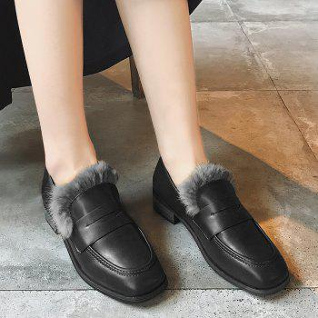 Faux Fur Trim Square Toe Loafers - BLACK 37