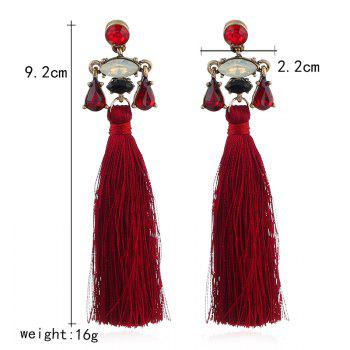 Boucles d'Oreilles Tribal Faux Cristal Inlay Tassel - Rouge