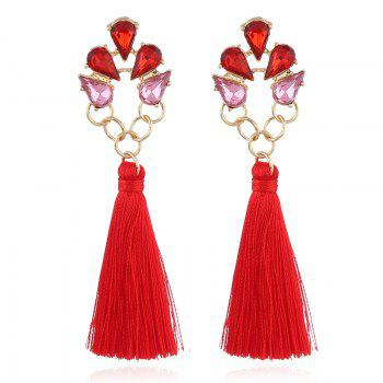 Faux Crystal Loop Tassel Boho Drop Earrings - RED RED