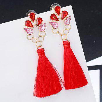 Faux Crystal Loop Tassel Boho Drop Earrings -  RED