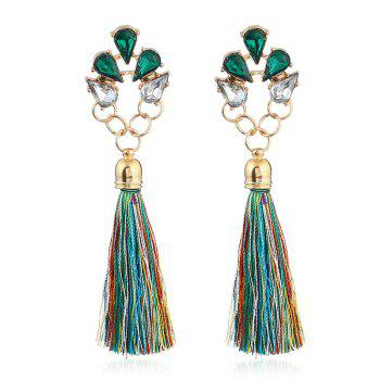 Faux Crystal Loop Tassel Boho Drop Earrings - GREEN GREEN