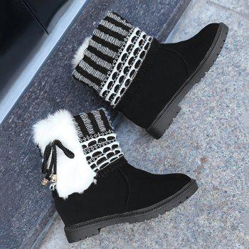 Faux Fur Knitted Bowknot Snow Boots - BLACK 39