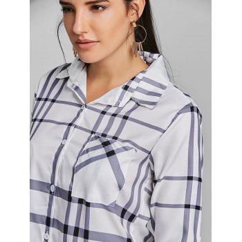 Pocket Tunic Plaid Shirt - WHITE S