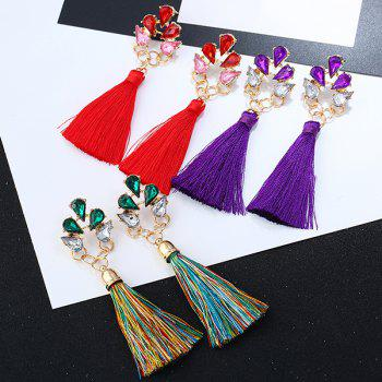 Faux Crystal Loop Tassel Boho Drop Earrings - GREEN