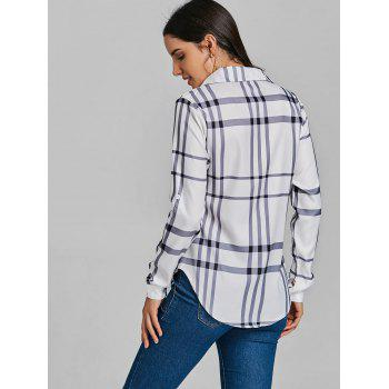 Pocket Tunic Plaid Shirt - WHITE M