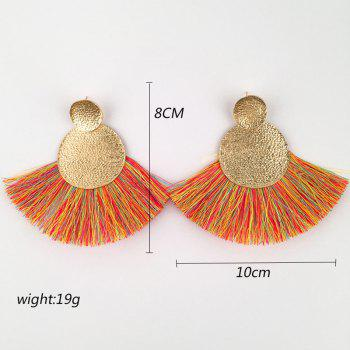 Hammered Disc Tassel Drop Earrings - ORANGE