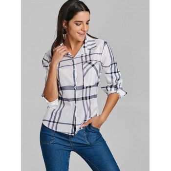 Pocket Tunic Plaid Shirt - WHITE WHITE