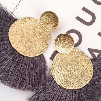 Hammered Disc Tassel Drop Earrings - GRAY